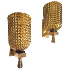 Pair of Large Gold Mirrored Murano Glass Midcentury Sconces Mazzega Style, 1960s