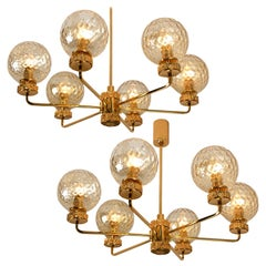 Pair of Large Gold-Plated Brown Glass Chandeliers in the Style of Brotto, Italy