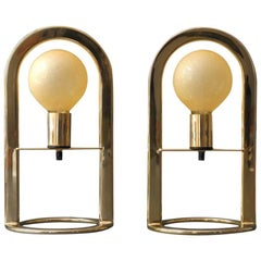 Pair of Large Golden Postmodern 1980s Metal Table Lamps