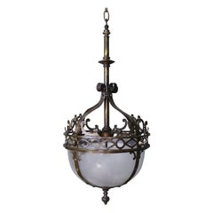 Pair of Large Gothic Revival Elaborate Gilt and Cast Brass Lanterns Lights