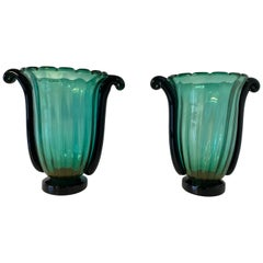 Pair of Large Green, Black and Gold Leaf Murano Glass Vases by Cenedese
