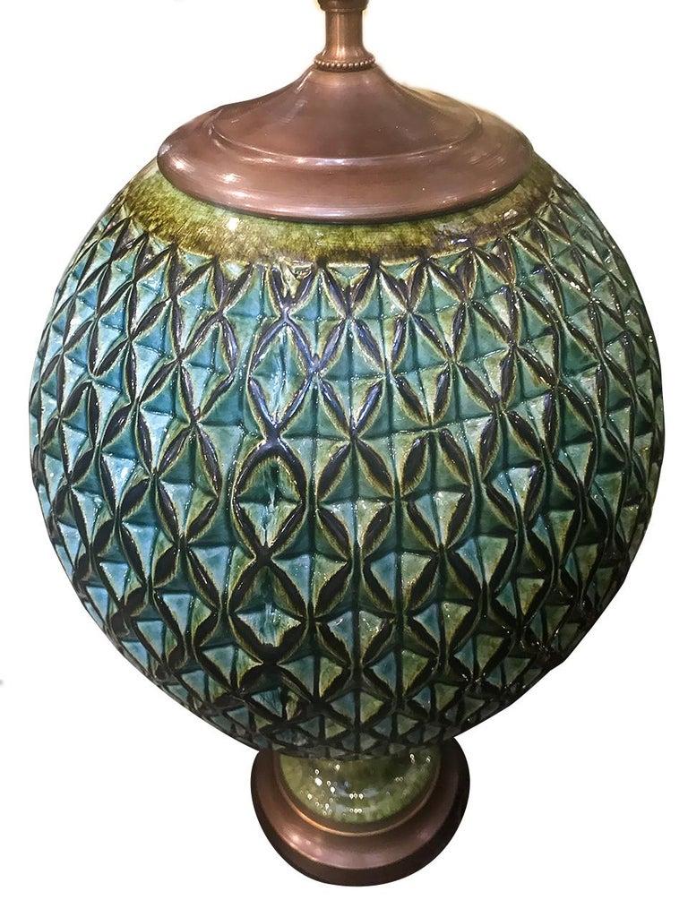Italian Pair of Large Green Ceramic Green Lamps For Sale