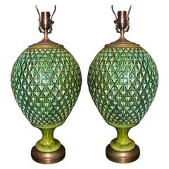Pair of Large Green Ceramic Green Lamps