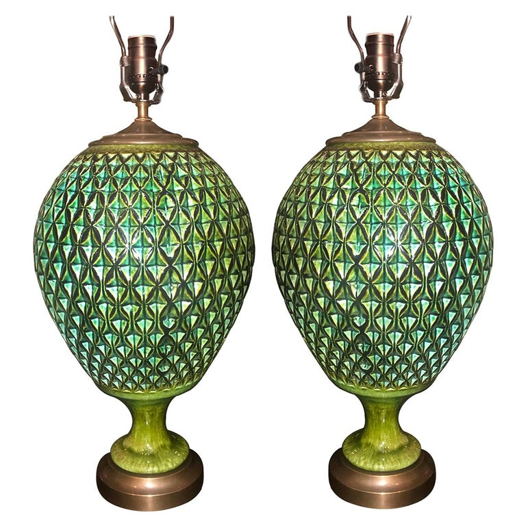Pair of Large Green Ceramic Green Lamps For Sale