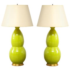 Pair of Large Green Ceramic Lamps