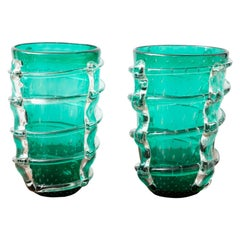 Pair of Large Green Emerald Murano Glass Vases, in Stock