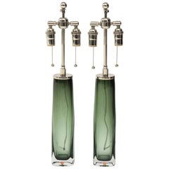 Pair of Large Green Glass Lamps by Orrefors