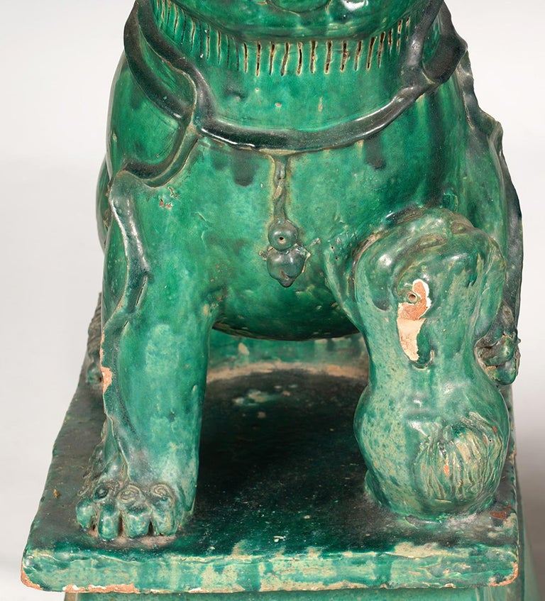 Chinese Export Pair of Large Green Glazed Chinese Terracotta Foo Dogs