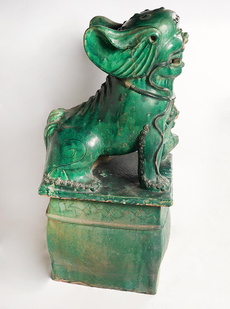 Pair of Large Green Glazed Chinese Terracotta Foo Dogs In Good Condition In Ft. Lauderdale, FL
