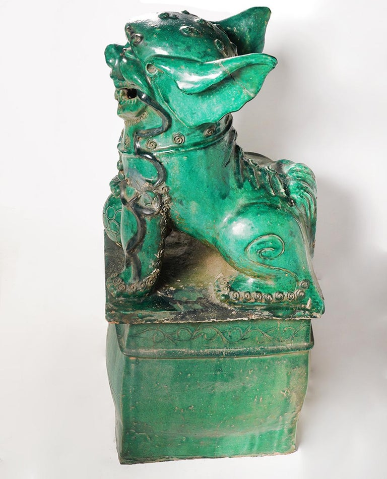 19th Century Pair of Large Green Glazed Chinese Terracotta Foo Dogs