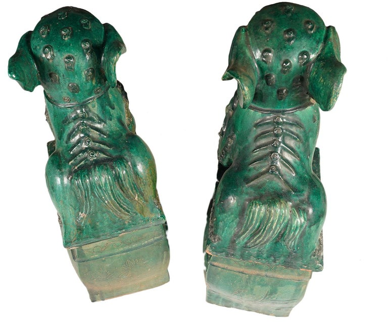 Pair of Large Green Glazed Chinese Terracotta Foo Dogs 1