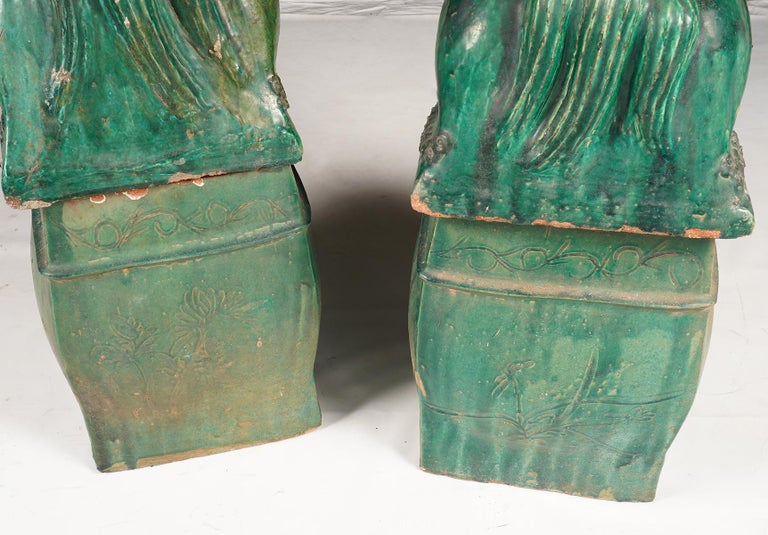 Pair of Large Green Glazed Chinese Terracotta Foo Dogs 3