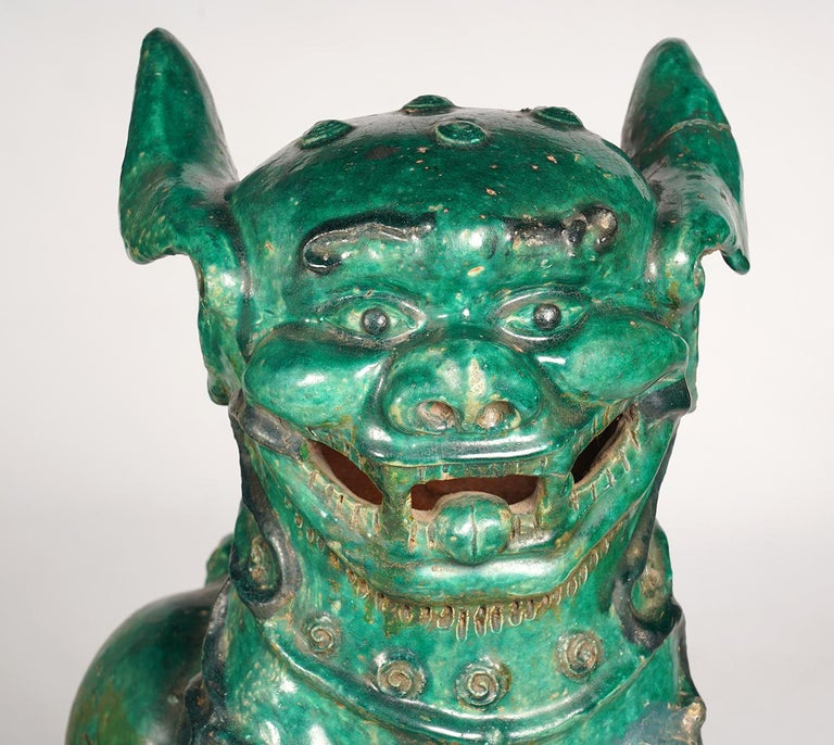 Pair of Large Green Glazed Chinese Terracotta Foo Dogs 4