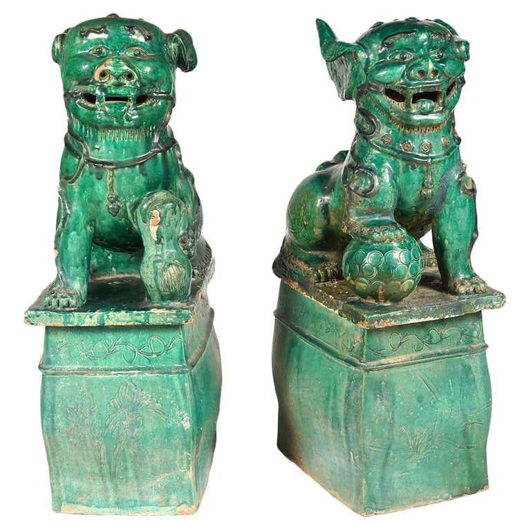 Pair of Large Green Glazed Chinese Terracotta Foo Dogs