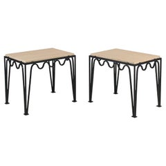 Pair of Large Grooved Travertine Meandre Side Tables by Design Frères