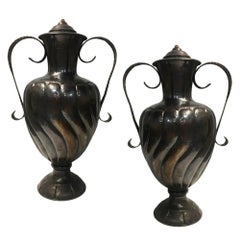 Pair of Large Hammered Bronze Urns Mounted as Lamps