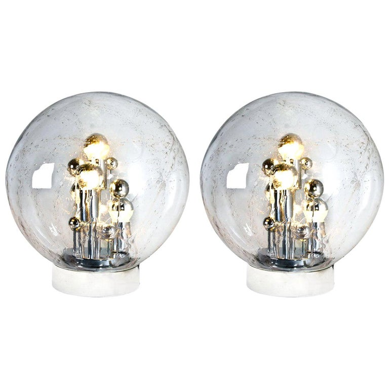 Pair of Large Hand Blown Bubble Glass Doria Table Lamps, 1970 For Sale