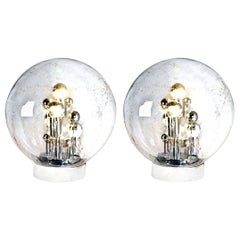 Pair of Large Hand Blown Bubble Glass Doria Table Lamps, 1970