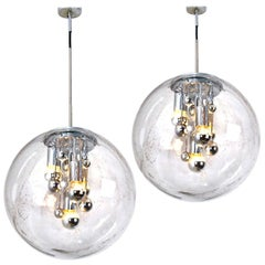 Pair of Large Hand Blown Bubble Glass Pendant Lights from Doria, 1970s