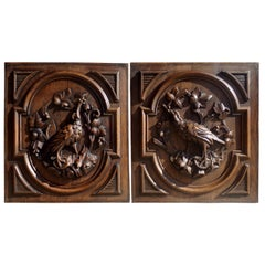 Pair of Large Hand Carved Bird Panels, circa 1890
