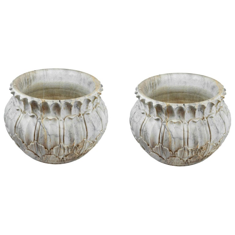 Pair of Large Hand Crafted Marble Jardinieres, circa 1930 For Sale