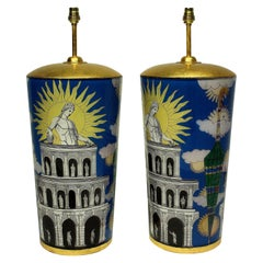 Pair of Large Hand Painted Fornasetti Inspired Lamps