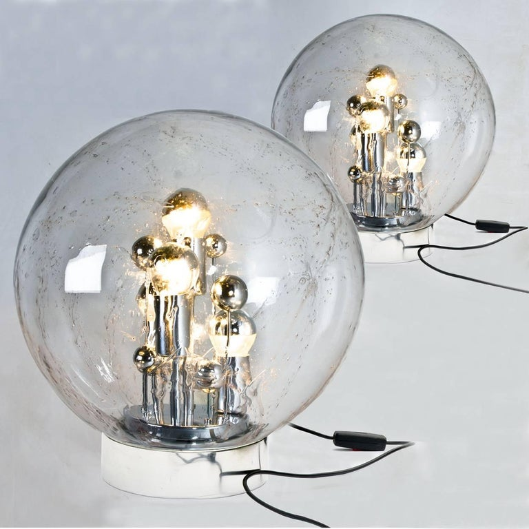 Late 20th Century Pair of Large Hand Blown Bubble Glass Doria Table Lamps, 1970 For Sale