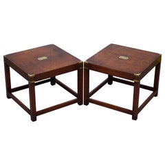 Pair of Large Harrods London Mahogany Military Campaign Lamp Side End Tables