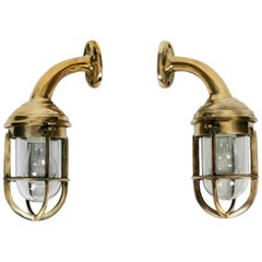 Pair of Large Heavy 1950s Maritime Ship Sconces in Cast Brass