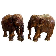 Pair of Large Heavy Indian Hand Carved Hardwood Elephants with Bone Inlay