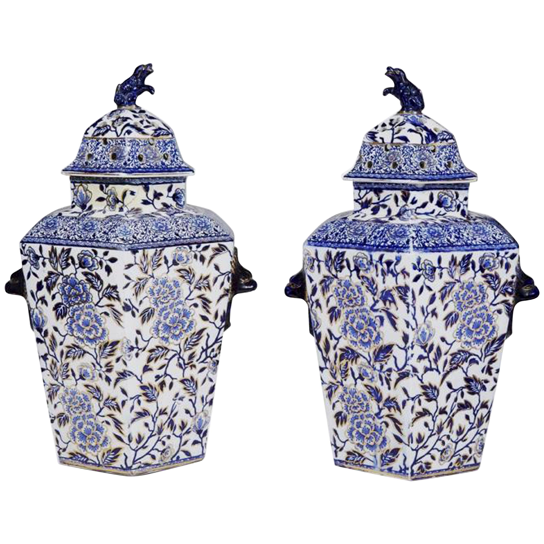 Pair of Large Hexagonal Ironstone Vases and Covers, Mason's Ironstone