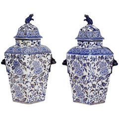 Pair of Large Hexagonal Ironstone Vases and Covers, Mason's Ironstone