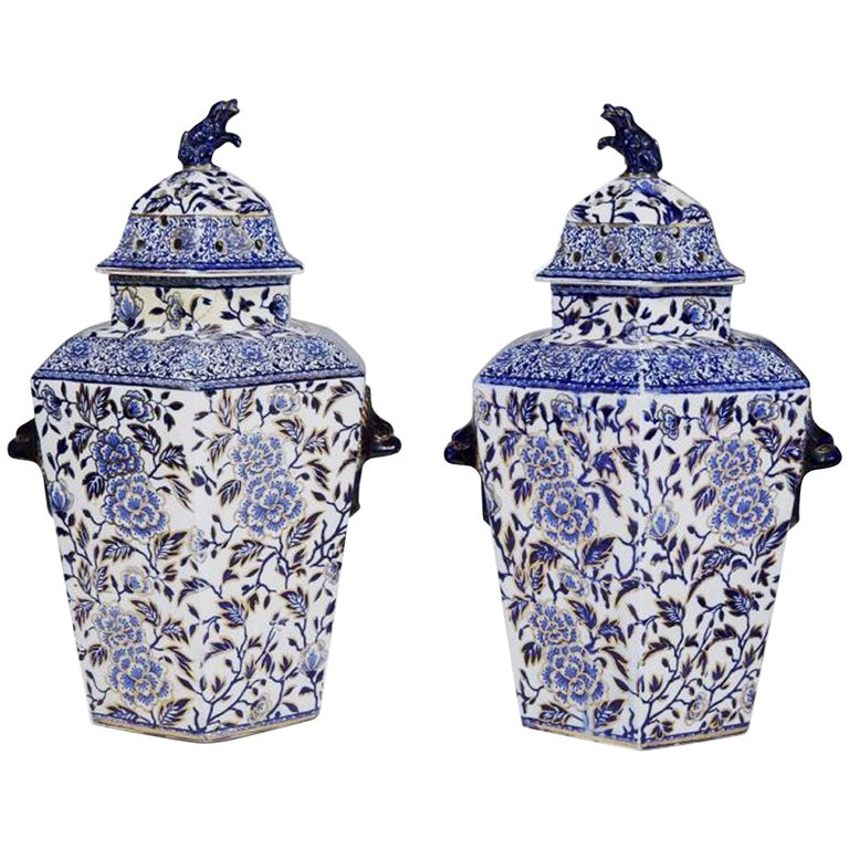 Pair of Large Hexagonal Ironstone Vases and Covers, Mason's Ironstone For Sale