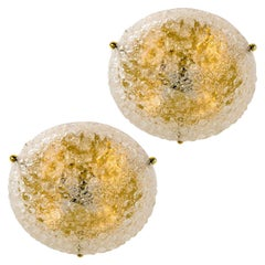 Pair of Large Hillebrand Massive Murano Glass Wall Lights/ Flush Mounts, 1960