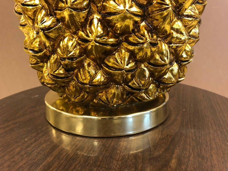 Resin Pair of Large Hollywood Regency Gold Pineapple Lamps For Sale