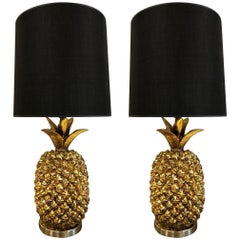 Pair of Large Hollywood Regency Gold Pineapple Lamps