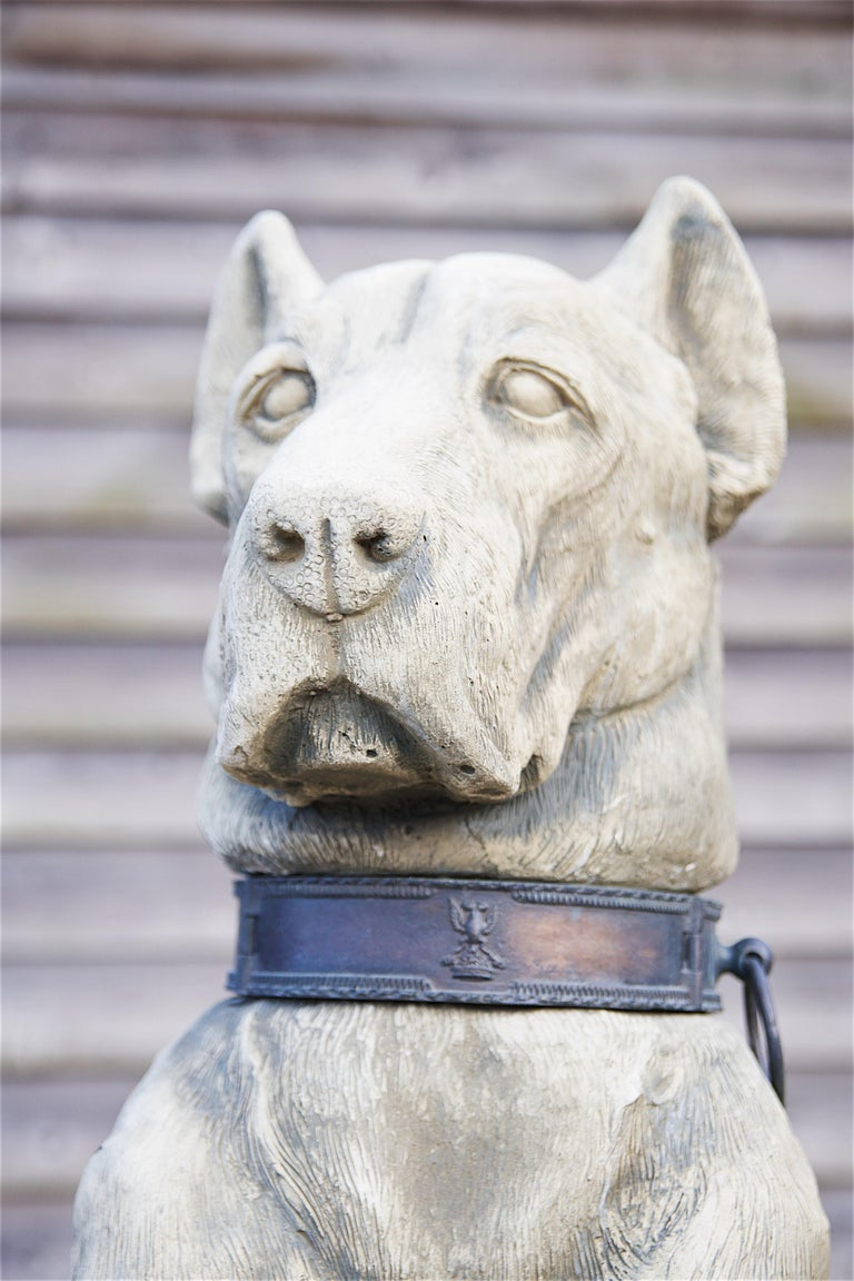 Contemporary Pair of Large Hounds on Plinths For Sale