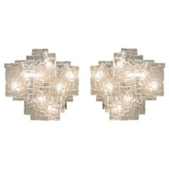 Pair of Large Ice Glass Sconces by Jt Kalmar, Austria, 1960