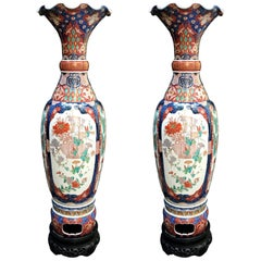 Pair of Large Imari Vases 19th Century Japanese Blue Red White Porcelain Vases