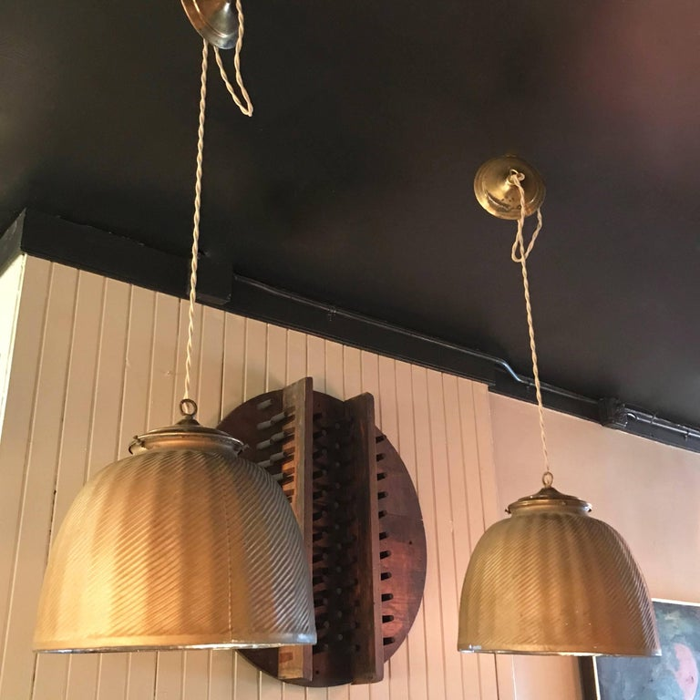 American Pair of Large Industrial Gold X-Ray Mercury Glass Pendant Lights For Sale