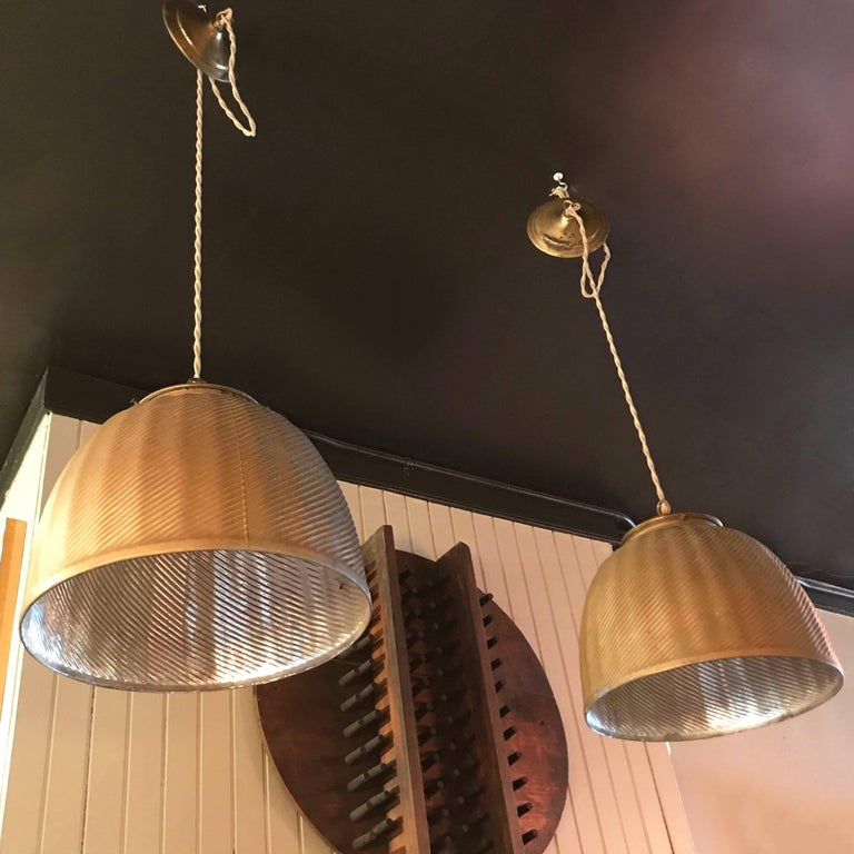 Pair of Large Industrial Gold X-Ray Mercury Glass Pendant Lights In Excellent Condition For Sale In Brooklyn, NY
