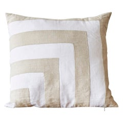 Pair of Large Irish Linen Pillows Cushions Vintage White Natural Patchwork