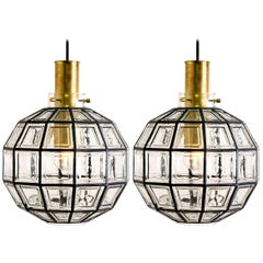 Pair of Large Iron and Clear Glass Light Fixtures by Limburg, circa 1965