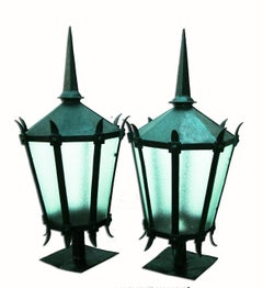 Pair of Large Iron Lanterns for Gate Post or Wall Bracket, 19th Century
