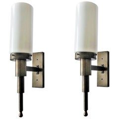 Pair of Large Italian Brass Opaline Glass Wall Sconces, Indoor or Outdoor Use