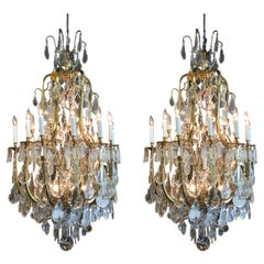 Pair of Large Italian Bronze and Crystal Chandeliers with 20 Lights
