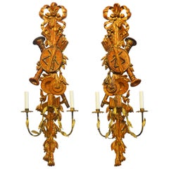 Pair of Large Italian Carved Gilt and Wood Two Arm Musical Themed Wall Sconces
