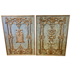 Pair of Large Italian Carved Giltwood Boiserie Architectural Panels