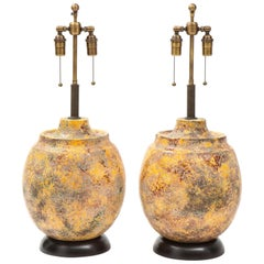 "Pair of Large Italian Ceramic Lamps with a ""Scavo"" Glazed Finish"