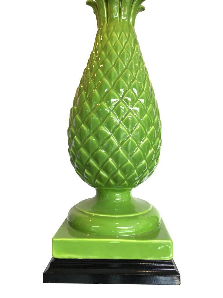 Pair of Large Italian Ceramic Pineapple Lamps For Sale 2